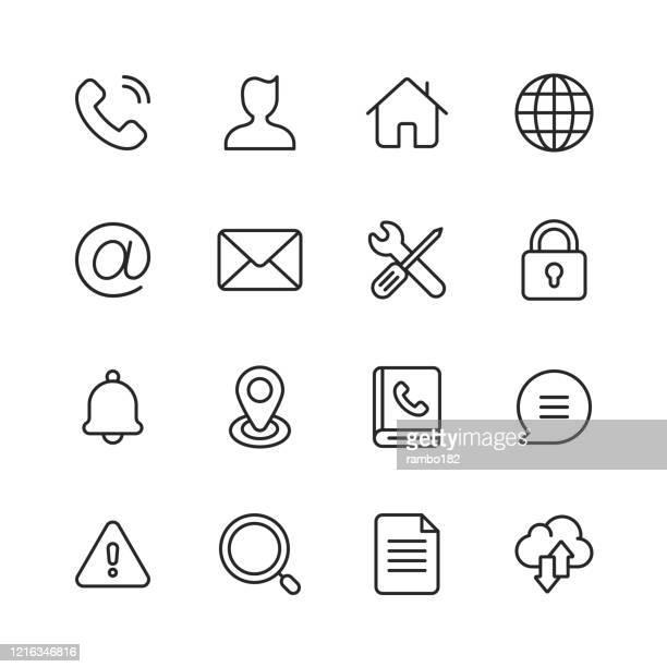 homepage line icons. bearbeitbarer strich. pixel perfekt. für mobile und web. enthält symbole wie kontakt, webseite, telefon, avatar, globus, haus, e-mail, nachricht, sprechblase, textnachrichten, einstellungen, vorhängeschloss, suche, cloud computing,  - adressbuch stock-grafiken, -clipart, -cartoons und -symbole