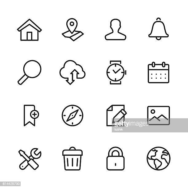 illustrations, cliparts, dessins animés et icônes de homepage - outline style vector icons - loupe