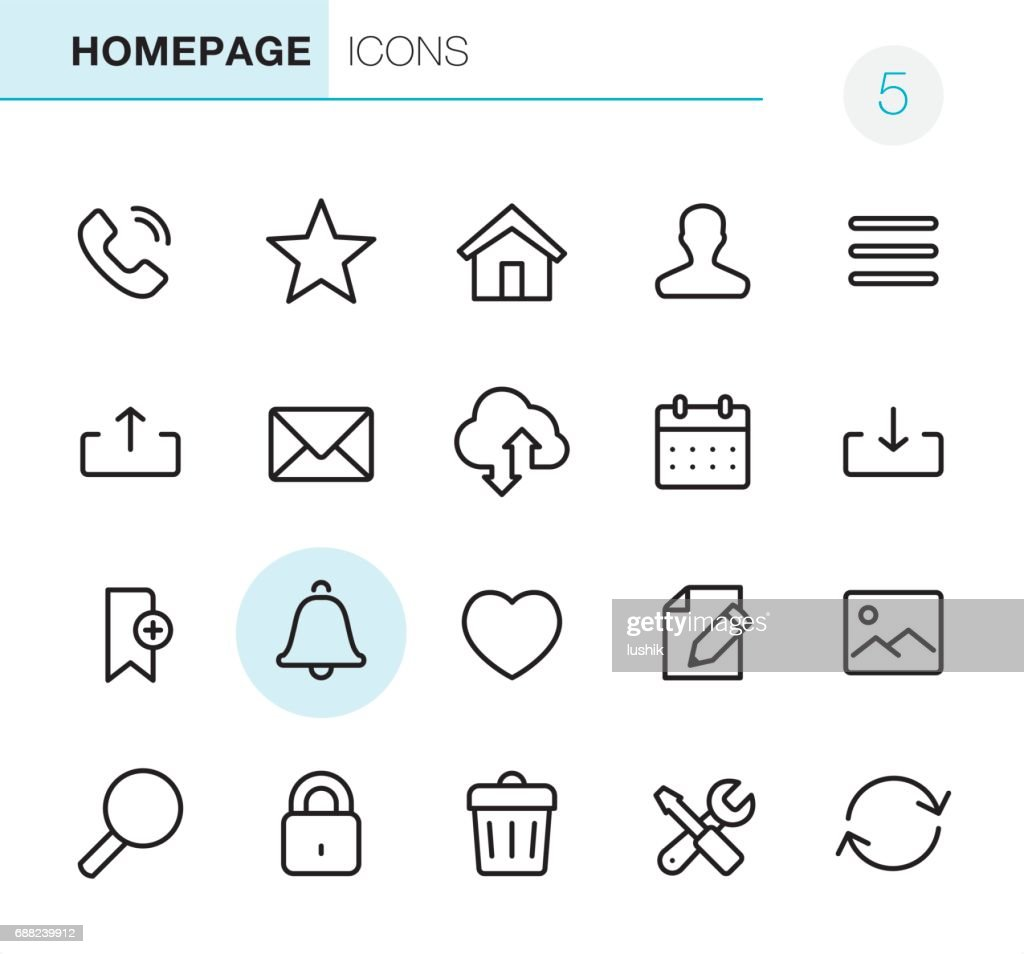 Homepage - Pixel Perfect icons : stock illustration