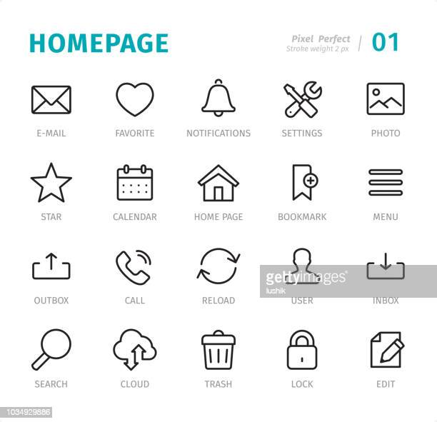 homepage - pixel perfect line icons with captions - bell stock illustrations