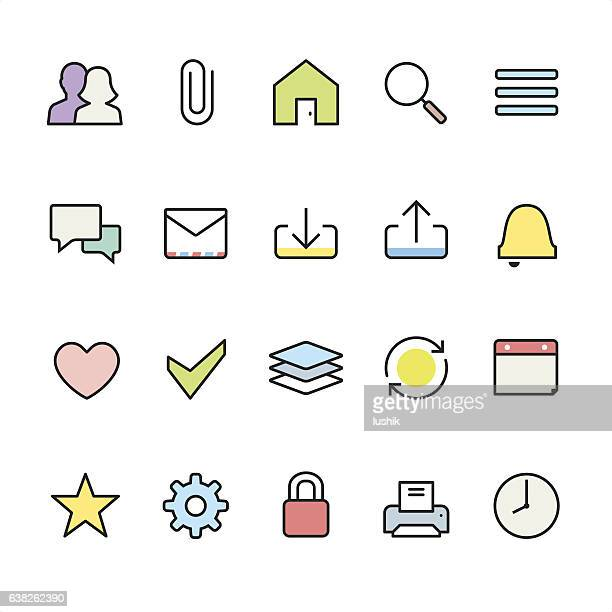 Homepage UI pack - outline color vector icons