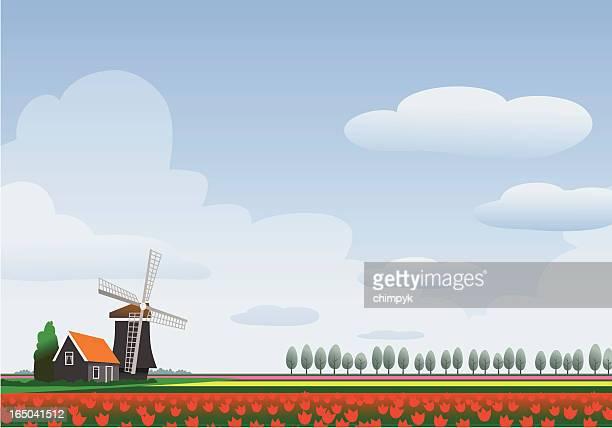 homescapes -オランダ - 風車塔点のイラスト素材/クリップアート素材/マンガ素材/アイコン素材