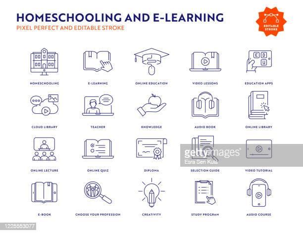illustrazioni stock, clip art, cartoni animati e icone di tendenza di set di icone homeschooling e e-learning line con tratto modificabile. - guida turistica professione