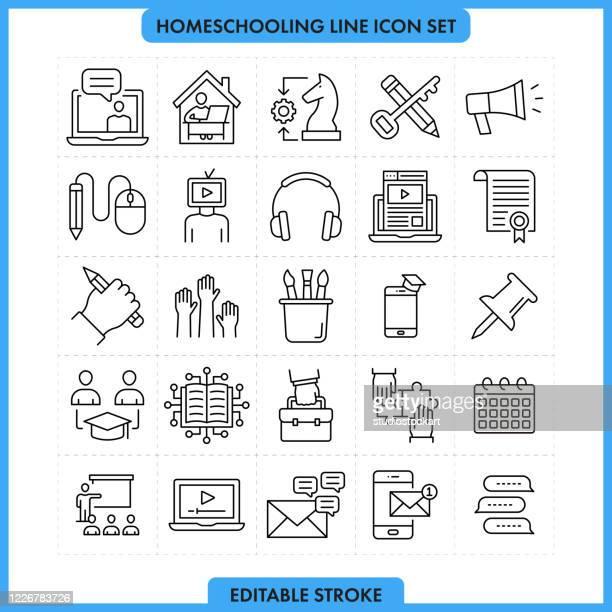 illustrazioni stock, clip art, cartoni animati e icone di tendenza di icona della linea homeschooling set tratto modificabile - guida turistica professione