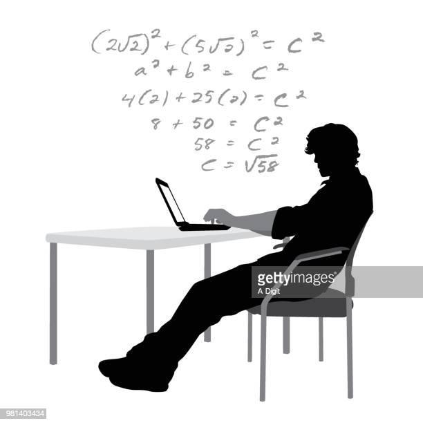 hausaufgaben-laptop - hochschulstudium stock-grafiken, -clipart, -cartoons und -symbole