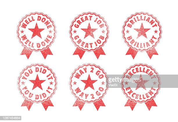 homework rubber stamps school student achievements awards seals - report card stock illustrations