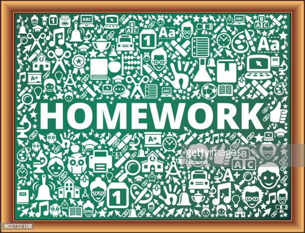 Homework School and Education Vector Icons on Chalkboard
