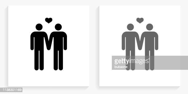 Homosexual Couple Black and White Square Icon