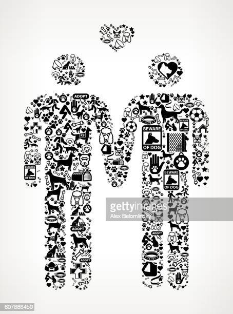 ilustrações de stock, clip art, desenhos animados e ícones de homosexual couple dog and canine pet black icon pattern - casais de lesbicas