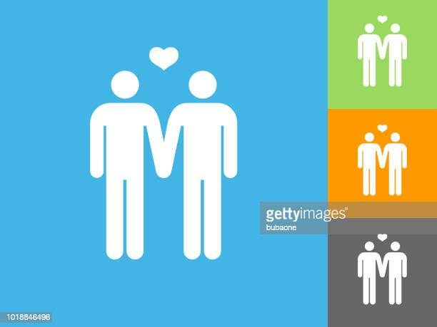Homosexual Couple Flat Icon on Blue Background
