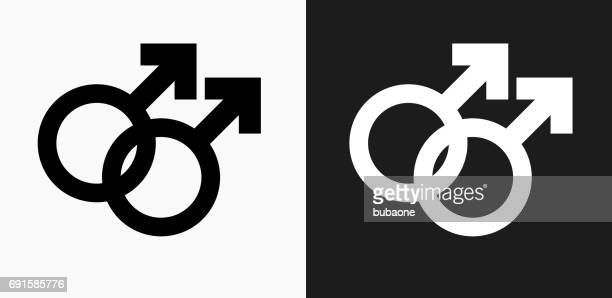 homosexual couple icon on black and white vector backgrounds - gay stock illustrations, clip art, cartoons, & icons