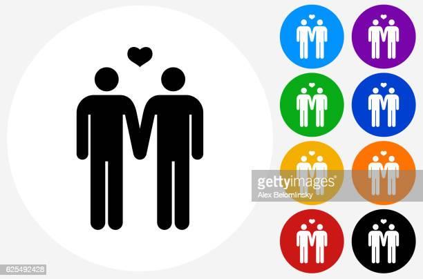 ilustrações de stock, clip art, desenhos animados e ícones de homosexual couple icon on flat color circle buttons - casais de lesbicas