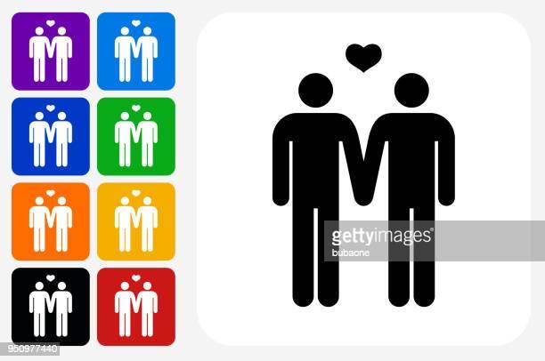 Homosexual Couple Icon Square Button Set