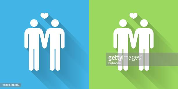 Homosexual Couple Icon with Long Shadow