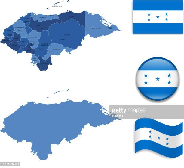 honduras map and flag collection - honduras stock illustrations