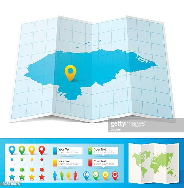 ilustraciones, imágenes clip art, dibujos animados e iconos de stock de honduras mapa con pasadores de ubicación aislado sobre fondo blanco - honduras