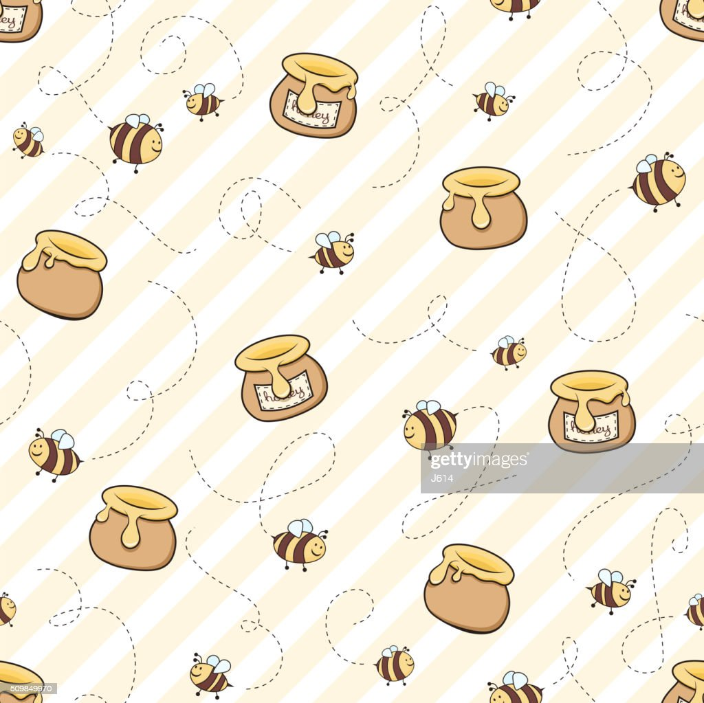 Honey and bees : stock illustration