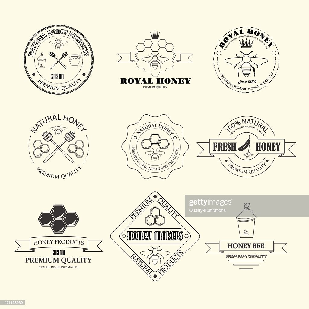 Honey and bees vector labels