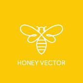 Honey bee concept - emblem for food packaging
