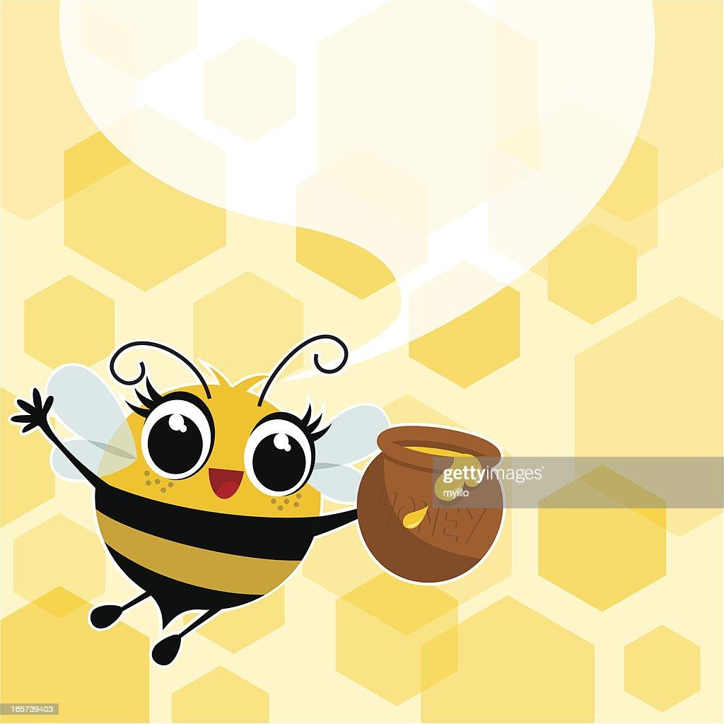Honey bee illustration,vector,cute,jar speech bubble myillo