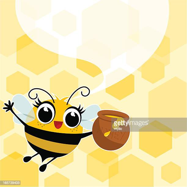 Honey bee illustration,vector,cute,jar speech bubble myillo
