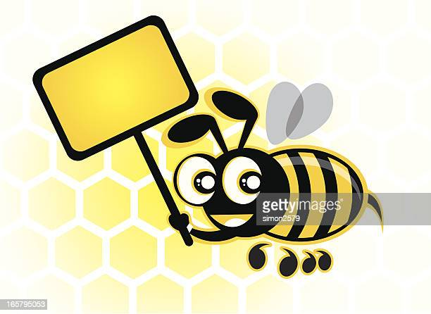 Honey Bee with a blank sign