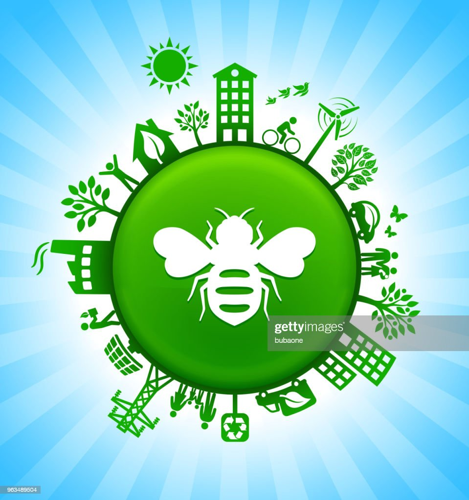Honey Bees Environment Green Button Background On Blue Sky