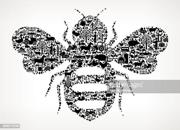 honey bees farming and agriculture black icon pattern - queen bee stock illustrations