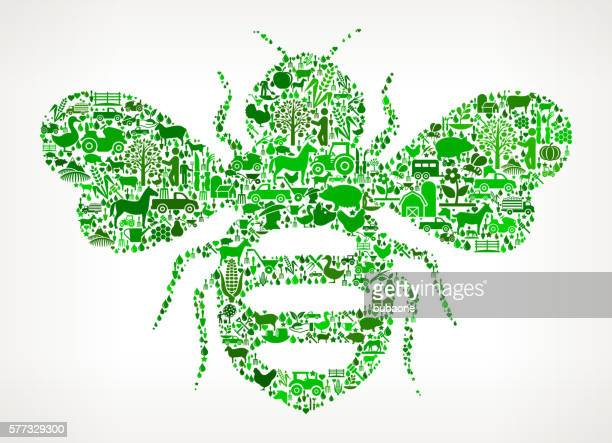 honey bees farming and agriculture green icon pattern - queen bee stock illustrations