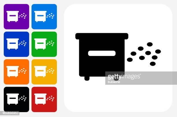 illustrations, cliparts, dessins animés et icônes de miel abeilles ruche icône carrée bouton set - ruche