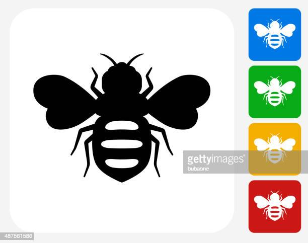 honey bees icon flat graphic design - queen bee stock illustrations
