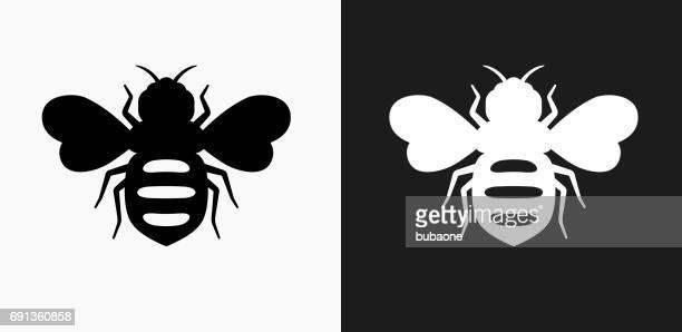 Icono de las abejas de miel en blanco y negro Vector fondos