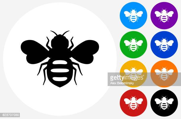 Honey Bees Icon on Flat Color Circle Buttons