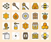 Honey farm icon set, filled outline design, 128 px with 4 px stroke pixel perfect