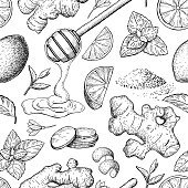 Honey, ginger, lemon and mint vector seamless pattern drawing. Wooden spoon
