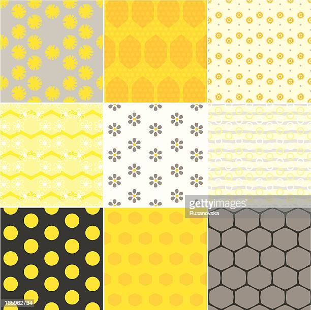honey patterns - bumblebee stock illustrations, clip art, cartoons, & icons