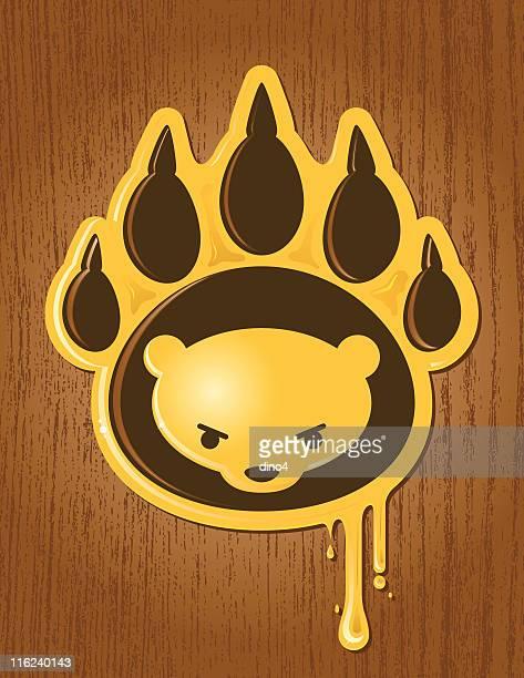 honey paw - bear tracks stock illustrations