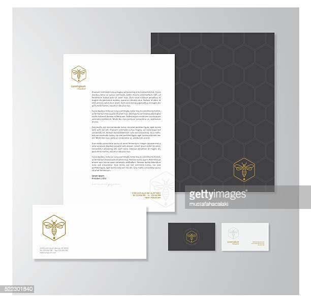 Honey production company stationery design