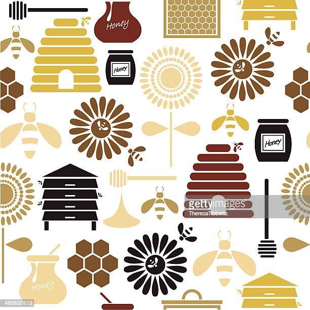 illustrations, cliparts, dessins animés et icônes de miel motif sans couture. - ruche