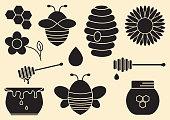 Honey set. Black silhouettes. Vector illustration