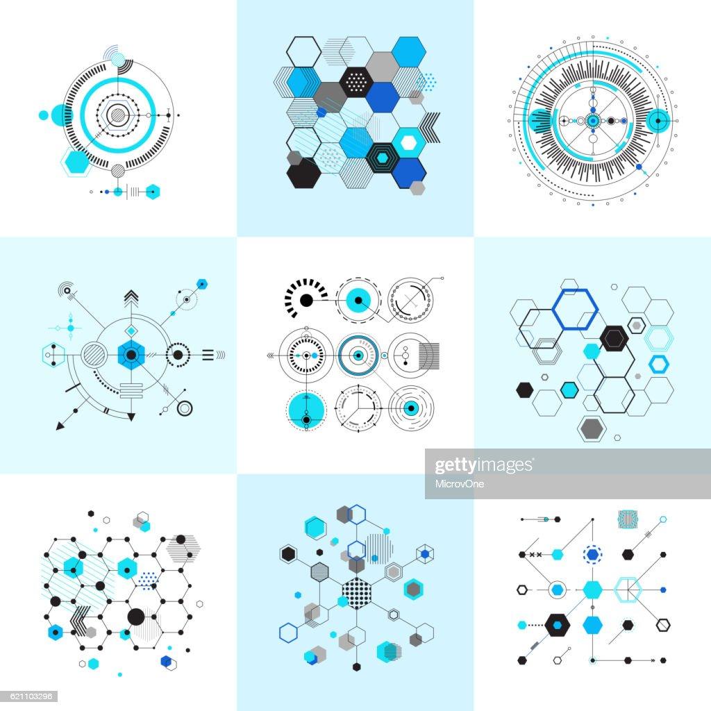Honeycomb and circular bauhaus abstract geometric shapes set