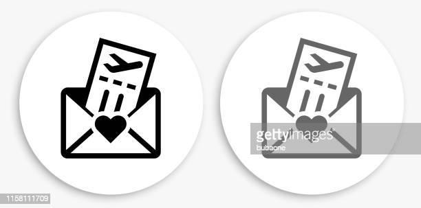 honeymoon tickets black and white round icon - honeymoon stock illustrations, clip art, cartoons, & icons