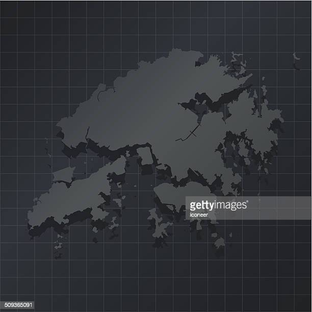 Hong Kong map on dark background with grid