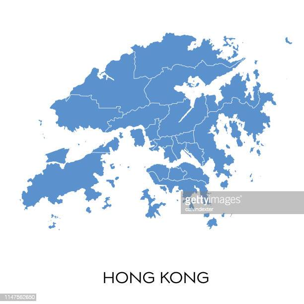 hong kong map - hong kong stock illustrations