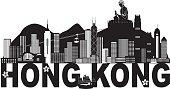 Hong Kong Skyline Buddha Statue Text Black and White Illustration