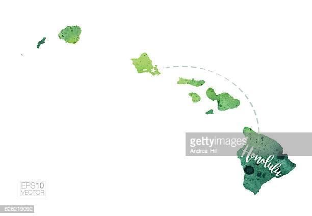 Honolulu, Hawaii USA Vector Watercolor Map