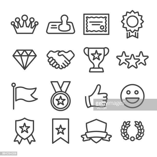 honor and success icons - line series - rating stock illustrations