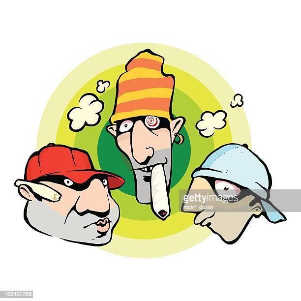 ilustrações, clipart, desenhos animados e ícones de capuz brothers - intoxicação por cannabis