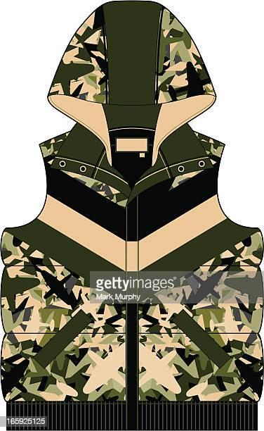 Hooded Camouflage Gilet Puffa Jacket