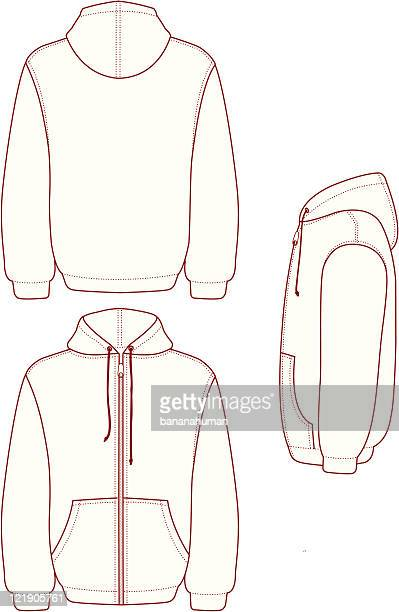 hooded full zip fleece - hood clothing stock illustrations